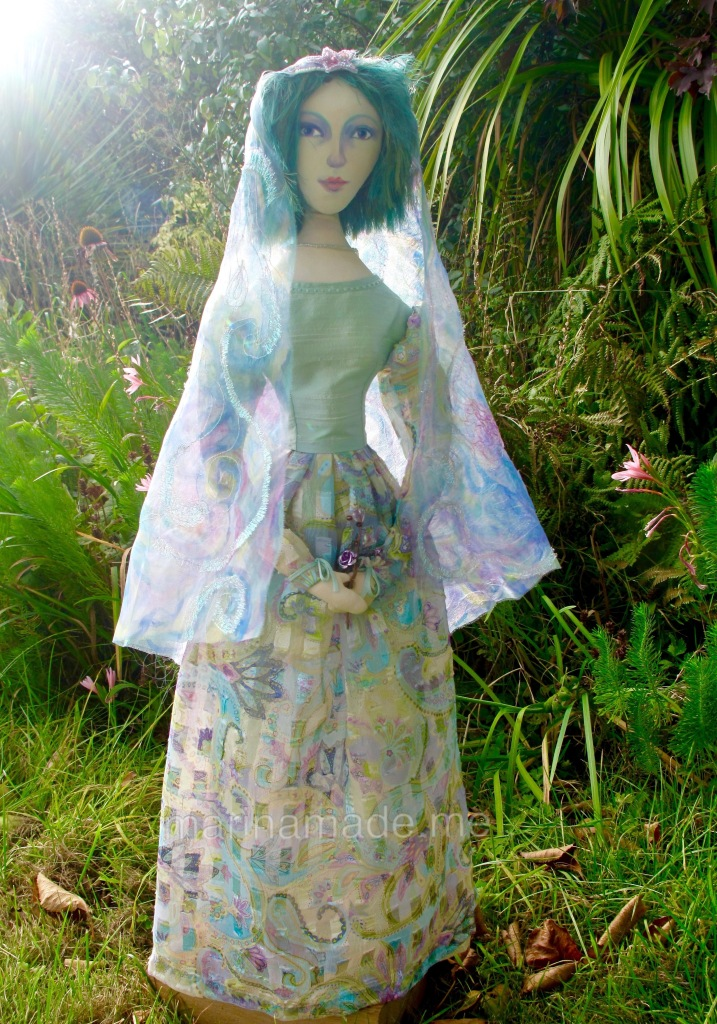Art Muse doll by Marina Elphick. Marina makes inspired muses in fine hand dyed cottons and silks, in her UK studio.