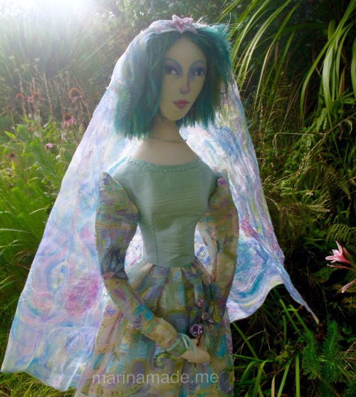 Art Muse doll by Marina Elphick, made from finest hand dyed silks and cottons. Art Doll muses handmade by Marina in finest silks and hand dyed cottons, at her Sussex studio in UK.