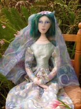 Art Muse doll by Marina Elphick, Chagall bride. Art doll inspired by muses, individually hand made by UK artist Marina Elphick.