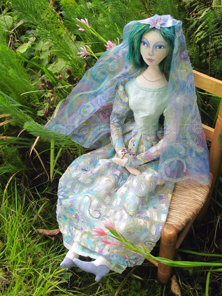 Art Muse doll by Marina Elphick. Doll muses handmade by Marina in finest silks and hand dyed cottons, at her Sussex studio in UK.