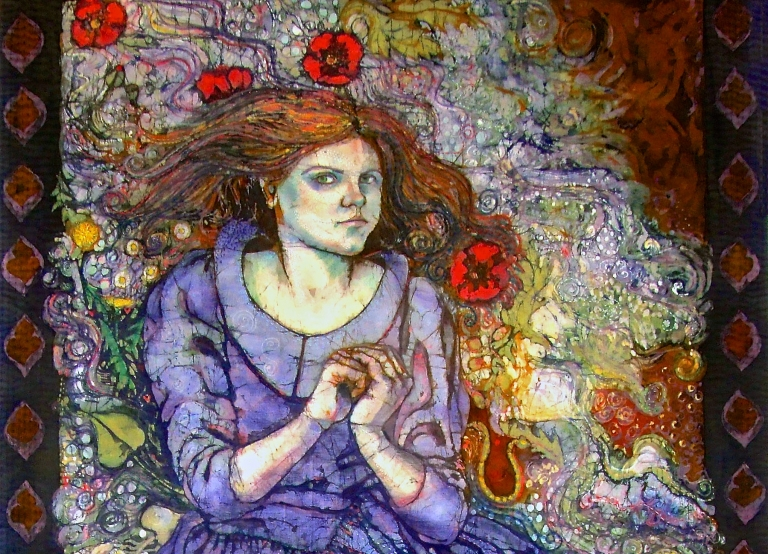 Self portrait as Ophelia, detail, batik on Cotton by Marina Elphick.