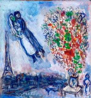 Wedding couple in Paris, by Marc Chagall.