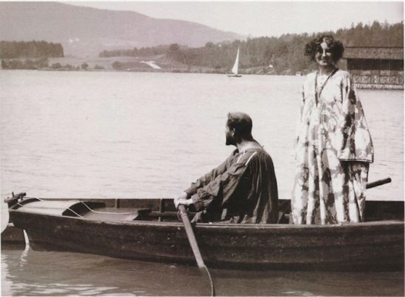 Photo of Emilie Flöge and Gustav Klimt on Lake Lake Attersee in the Austrian Alps.