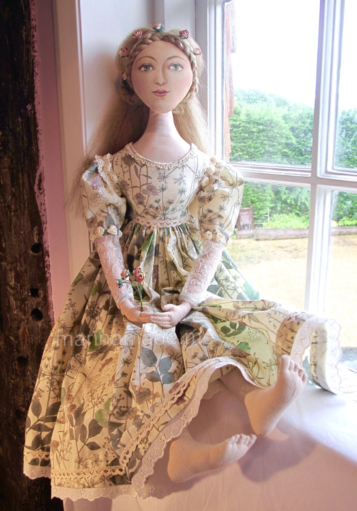 Marina's muses, individually hand made creations. Marina's muses are inspired by artists models, individually hand made using fine cotton lawns and silks.Art Muses, art-dolls inspired by artist's paintings, by Marina Elphick