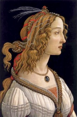 Painting by Sandro Botticelli, Simonetta Vespucci was his model. Marina's muses are inspired by artists models, individually hand made using fine cotton lawns and silks.