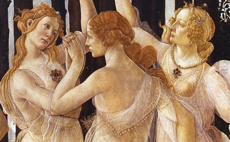 Detail of the three Graces, tempera panel by Sandro Botticelli. Marina's muses are inspired by artists models, individually hand made using fine cotton lawns and silks.