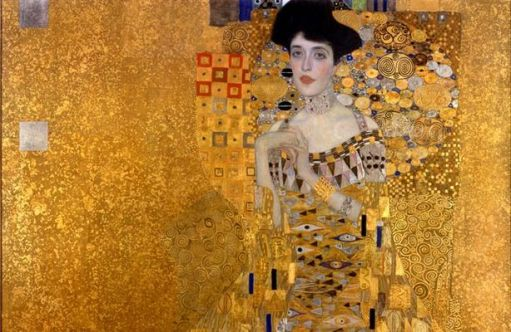 Portrait of Adele Bloch-Bauer by Gustav Klimt, showing designs that inspired my silk batik.