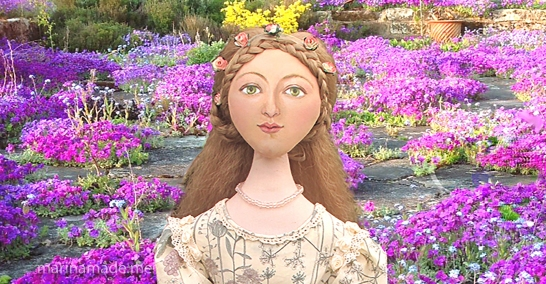 Primavera muse doll inspired by Botticelli's paintings of Simonetta Vespucci. Marina's muses are inspired by artists models, individually hand made using fine cotton lawns and silks. Art Muses, art-dolls inspired by artist's paintings, by Marina Elphick.