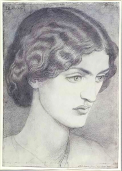 Drawing of Jane Burden by Dante Gabriel Rossetti 1857. Reference for Marina's Muses.
