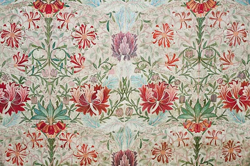 Honeysuckle embroidered by Jane Morris, designed by William Morris. Georgiana Burne-Jones