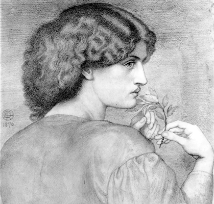 Drawing of Jane Morris by Dante Gabriel Rossetti 1870. Reference for Marina's Muses.