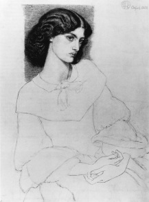 Drawing of Jane Burden by Dante Gabriel Rossetti 1858. Reference for Marina's Muses.