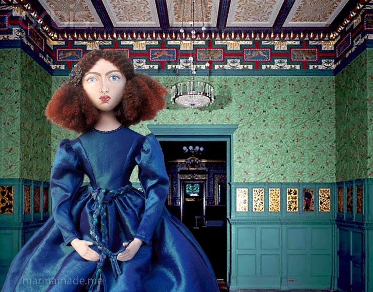 Jane Morris muse, Rossetti's muse, art doll by Marina Elphick, UK artist.
