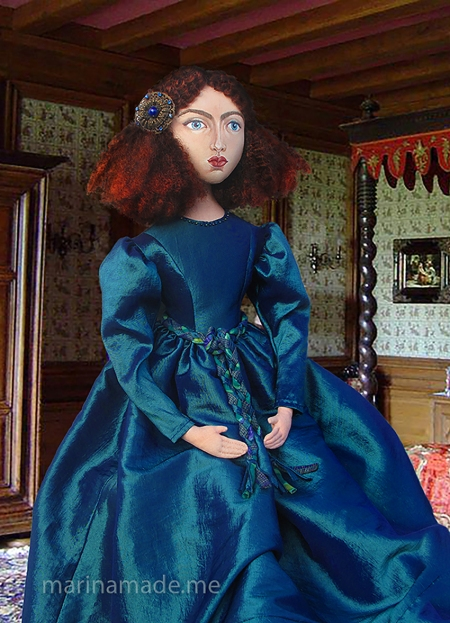 Jane Morris muse, hand made by Marina Elphick, Rossetti inspired hand sewn art muse stitched and painted by Marina Elphick