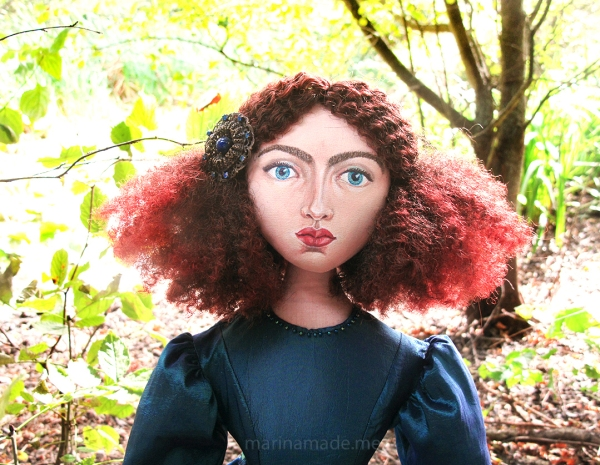 Rossetti's muse Jane Morris, Art doll by Marina Elphick.