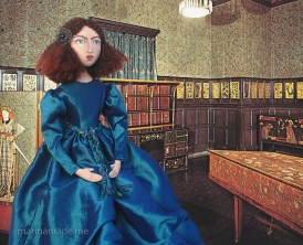 Jane Morris muse, favoured by Rossetti, hand sewn art doll, stitched and painted by Marina Elphick, UK artist. Art muse, art doll.