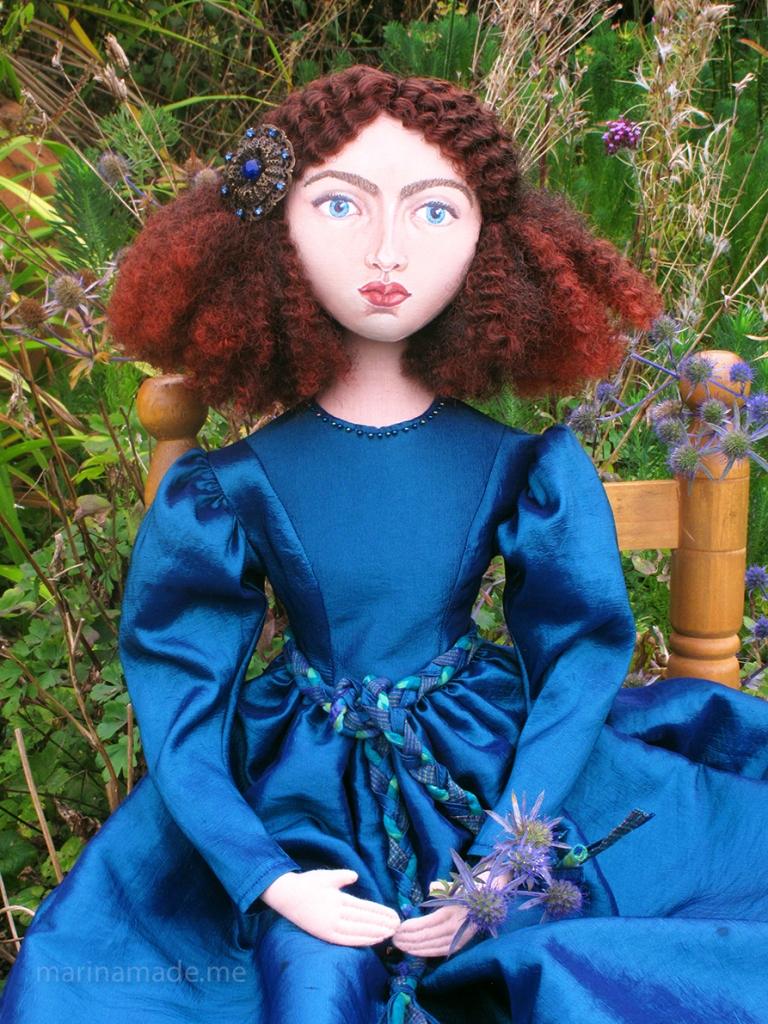 Rossetti's muse Jane Morris, Art doll by Marina Elphick.