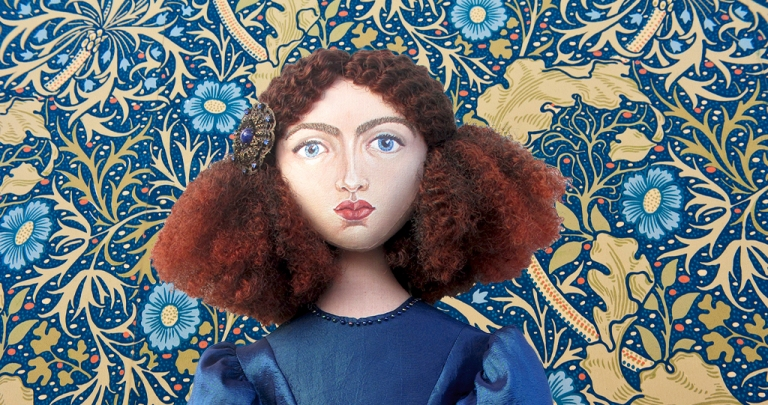 Jane Morris , Rossetti's muse, hand sculpted in textiles by Marina Elphick, UK artist.