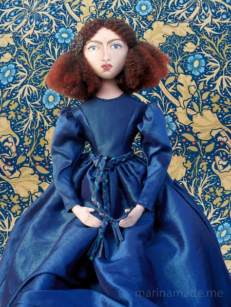 Rossetti's muse Jane Morris, Art muse 'doll' made by Marina Elphick.