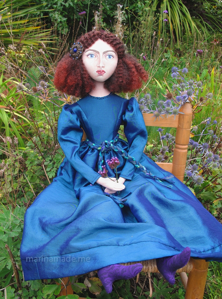 Jane Morris muse, Rossetti's muse, art doll, by Marina Elphick, UK artist.