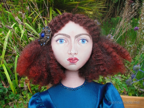 Jane Morris muse, favoured by Rossetti, hand sewn art muse, stitched and painted by Marina Elphick, UK artist.