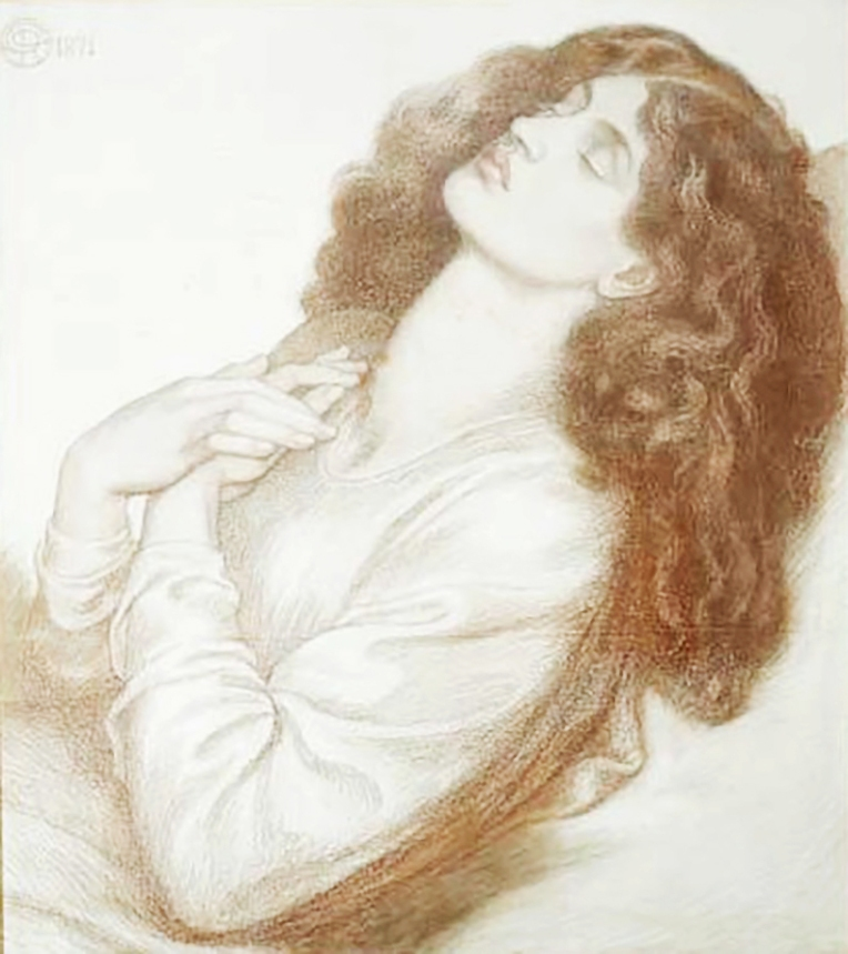Drawing of Jane Morris by Dante Gabriel Rossetti 1871. Reference for Marina's Muses.