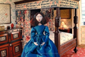 Art muse by Marina Elphick.Jane Morris muse, favoured by Rossetti, hand sewn art doll, stitched and painted by Marina Elphick, UK artist.