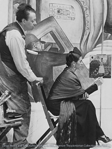 Diego Rivera and Frida Kahlo at work in Detroit.