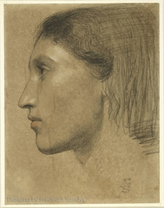 Drawing of Fanny Eaton in profile by Frederick Sandys.