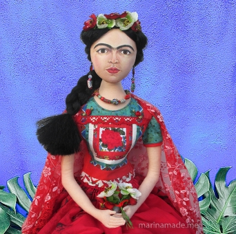 Frida muse by Marina. Art doll inspired by the artist and her work, created in soft sculpted form by Marina Elphick.