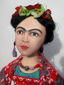 Frida art muse, Self portraits, Handmade by Marina Elphick using vintage, hand dyed and Liberty cottons.