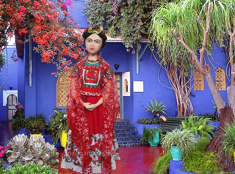 Muse of Frida Kahlo outside her house. Frida Kahlo, one of Marina's Muses, soft sculpted icon of art.