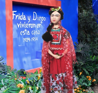 Frida muse wearing a Tehuana style dress. Frida Kahlo, one of Marina's Muses, soft sculpted icon of art.