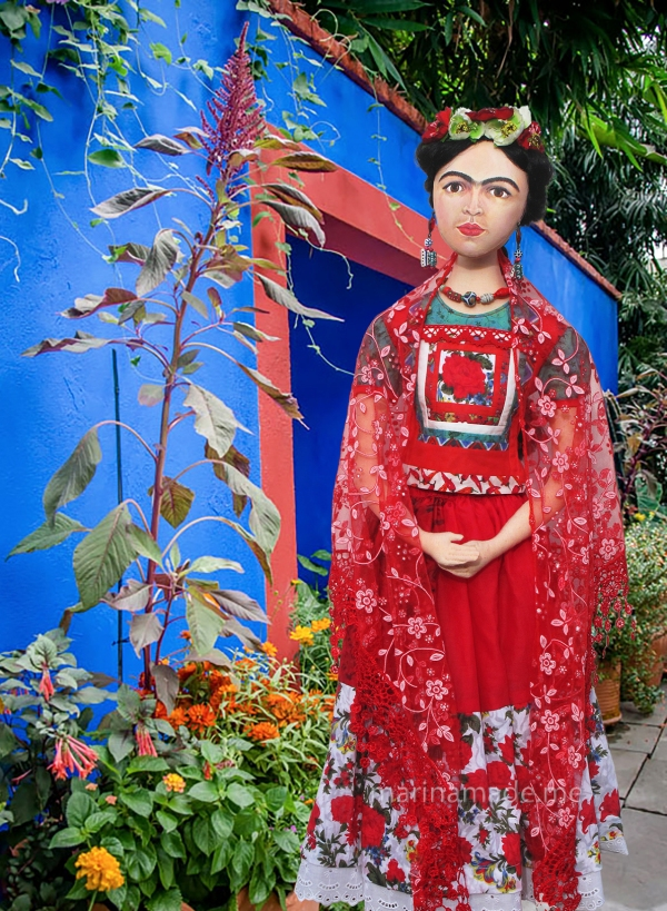 Frida Kahlo muse in Tehuana style dress. Frida Kahlo, one of Marina's Muses, soft sculpted icon of art.