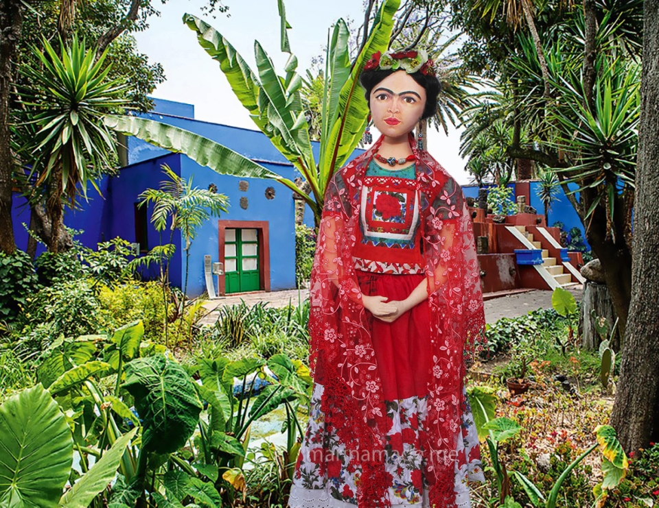 Frida Kahlo art muse, in Tehuana dress hand made by Marina Elphick. Frida Kahlo, one of Marina's Muses, soft sculpted icon of art.