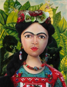 "Frida Kahlo muse by Marina Elphick, set against detail from Kahlo's ""self portrait with necklace of thorns""."