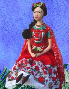Frida art muse made by Marina, made using vintage, hand dyed and Liberty cottons.
