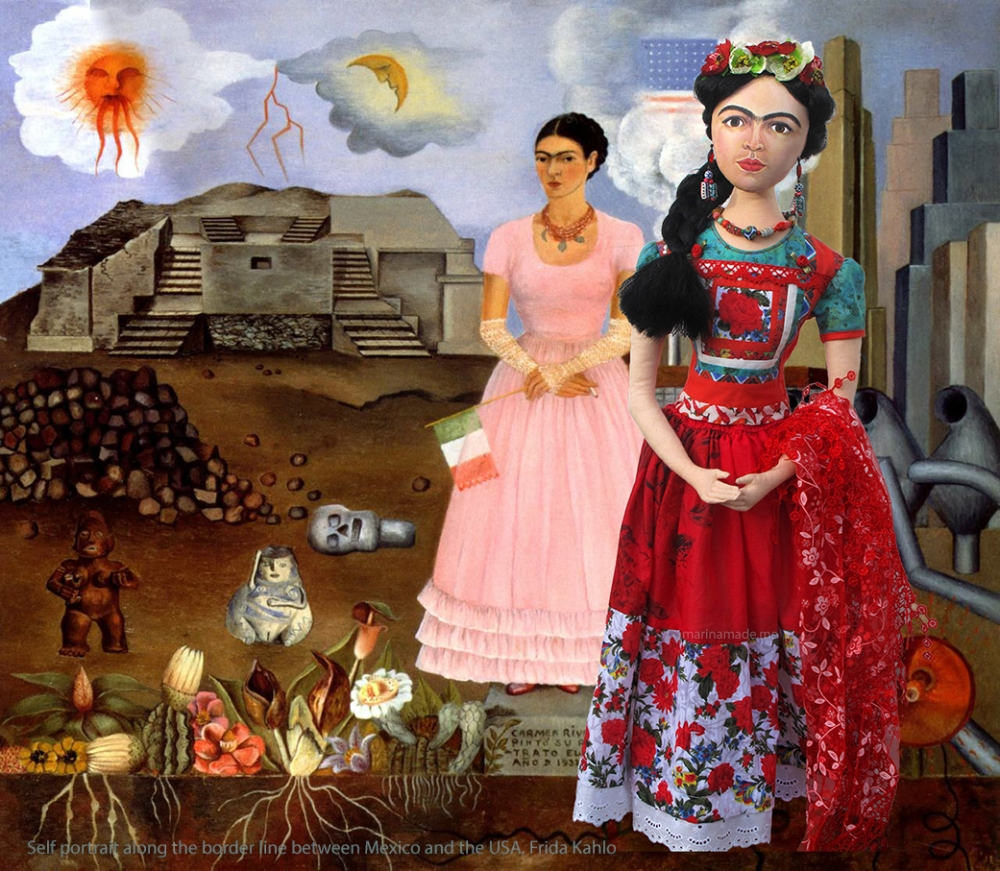 Frida Kahlo art muse wearing traditional Tehuana dress, by Marina Elphick. Inspired by Frida's self portraits, Frida Kahlo is one of Marina's Muses, soft sculpted icon of art.
