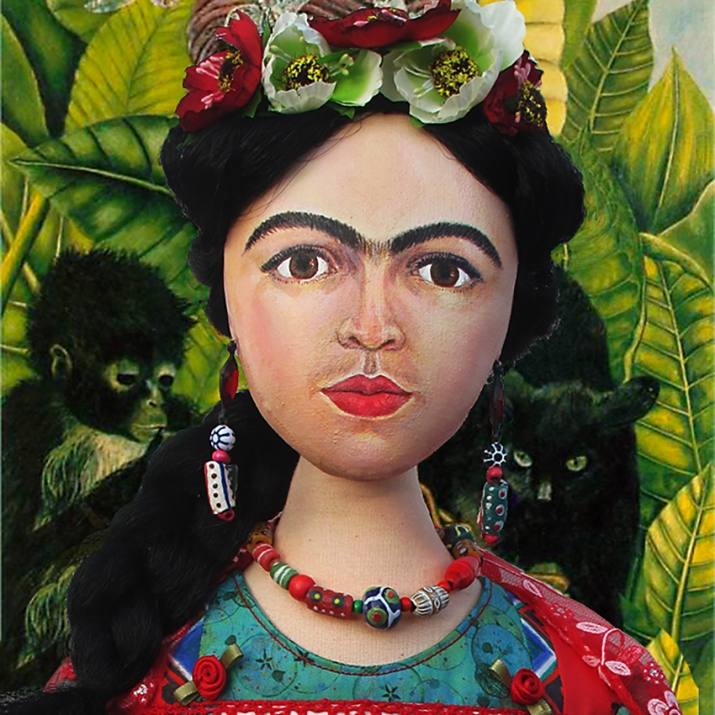 Frida Kahlo, one of Marina's Muses, soft sculpted icon of art.