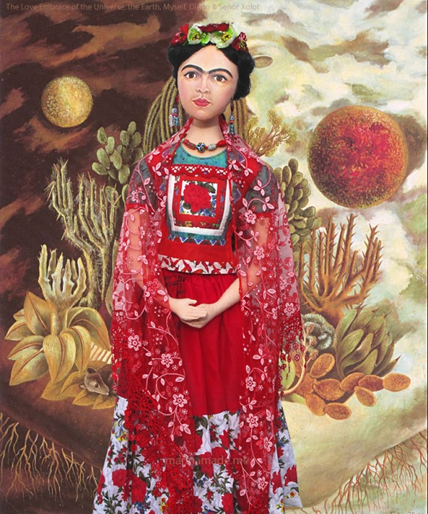 Frida Kahlo muse, wearing Tehuana dress, handmade using vintage, hand dyed and Liberty cottons.  Frida Kahlo, one of Marina's Muses, soft sculpted icon of art.