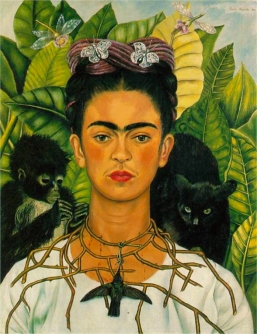 Frida Kahlo, self portrait with thorn necklace.