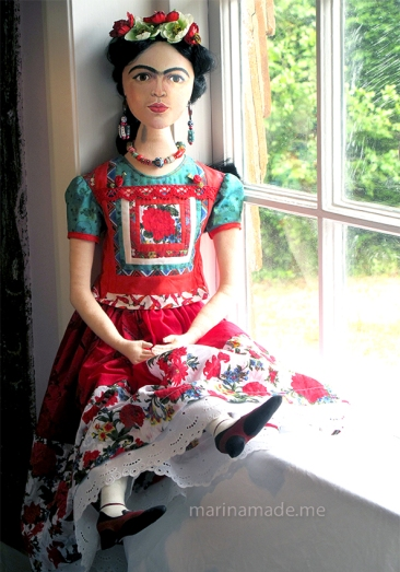 Frida Kahlo art muse by Marina Elphick. Handmade using vintage, hand dyed and Liberty cottons.