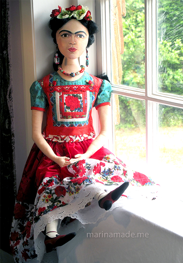 Frida Kahlo art muse by Marina Elphick. Handmade using vintage, hand dyed and Liberty cottons. Frida Kahlo, one of Marina's Muses, soft sculpted icon of art.