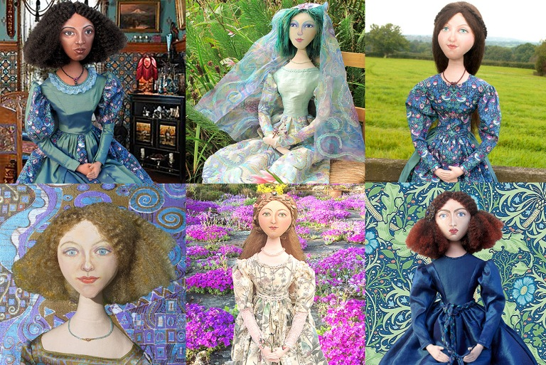 Fanny Eaton, Chagall Bride, Effie Gray, Emilie Floge, Primavera and Jane Morris, muses by Marina. Muse dolls by Marina Elphick of Marina's Muses.