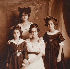 An early photograph taken by Guillermo Kahlo of his wife Matilde and their daughters, Cristina, Adriana and Frida.