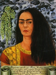 Self portrait with loose hair, 1947, by Frida Kahlo.