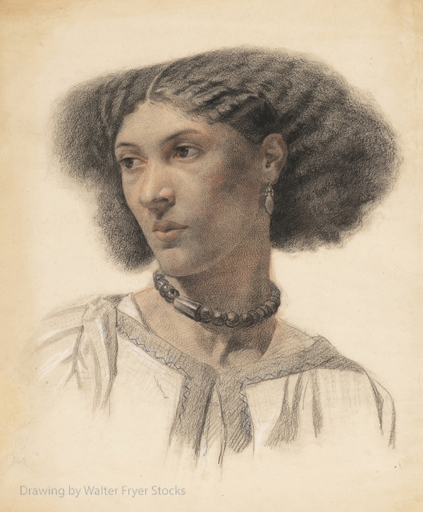 Drawing of Fanny Eaton by young artist Walter Fryer Stocks.
