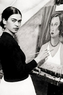 Frida Kahlo painting as a young woman.