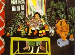 Lydia Delectorskaya in interior with Etruscan vase, by Henri Matisse 1940.