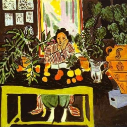 Lydia Delectorskaya in interior with Etruscan vase, by Henri Matisse 1940.